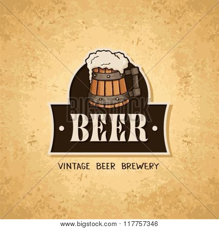 Beer label on old paper texture.Vintage style