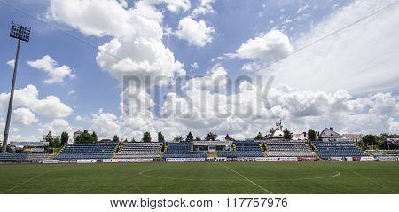 The old stadium tribune on May 24, 2015 in Targu-Jiu.