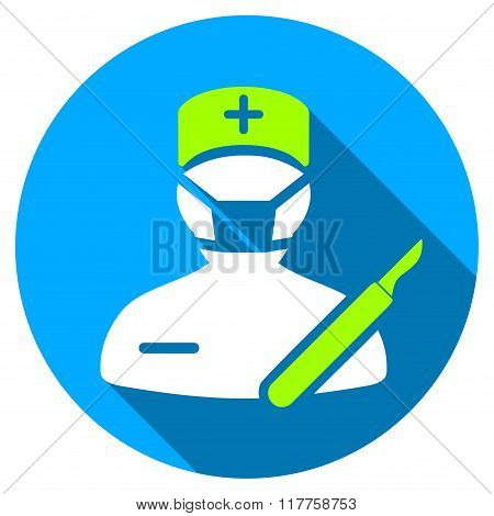 Surgeon Flat Round Icon With Long Shadow