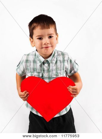 Little Boy Holds A Big Red Heart Holiday Valentine's Day.