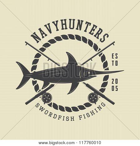 Vintage Fishing Label, Log, Badge With Sword Fish. Vector Illustration