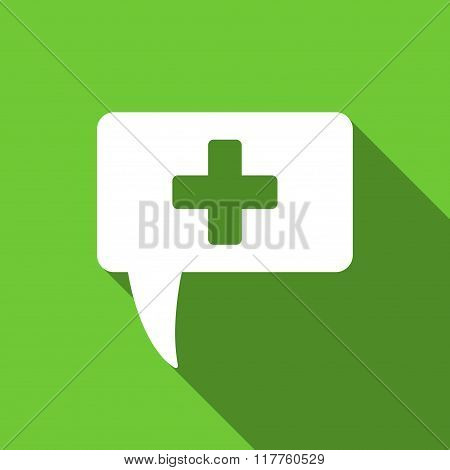 Medical Answer Flat Long Shadow Square Icon