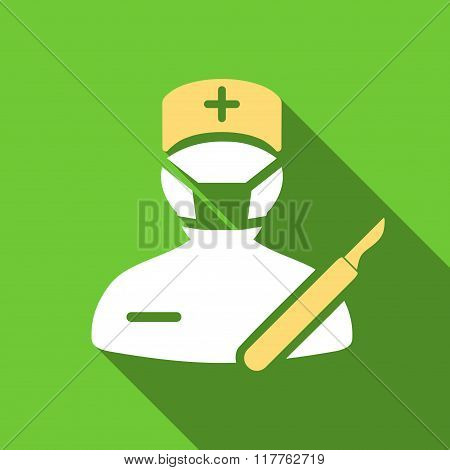 Surgeon Flat Long Shadow Square Icon