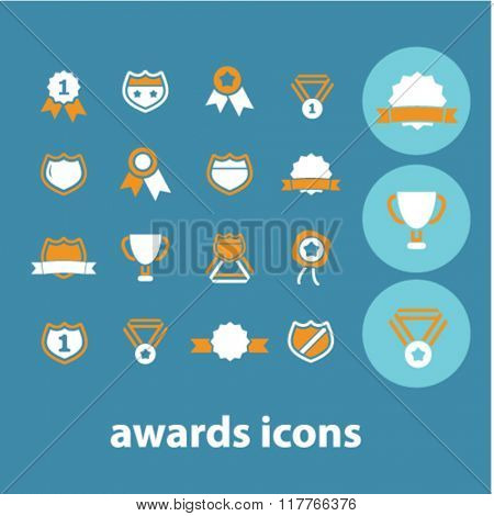 awards icons, award concept, award trophy, achievement, award ribbon, trophy, prize  icons, signs vector concept set