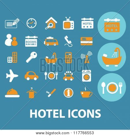 hotel icons, motel icon, hotel logo, hotel concept, room service icons,
