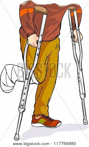 Vector Illustration Of A With Bandaged Foot Walking On Crutches