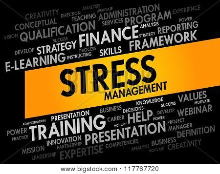 Stress Management word cloud collage, business concept background