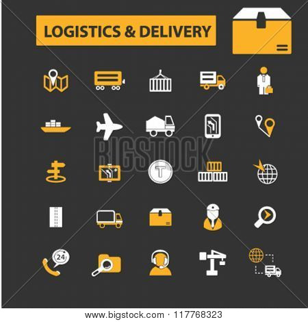 logistics icons, logistics concept, delivery icon, logistics logo, shipping vector