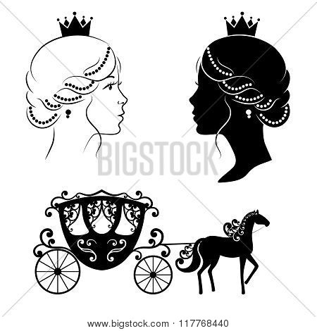 Profile silhouette of a princess and carriage
