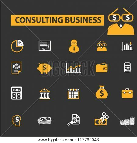 consulting business, consulting logo, consultant icon, financial consultant, accounting agency icons