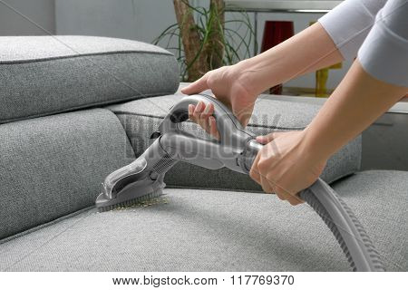 Woman Use Vacuum Cleaner