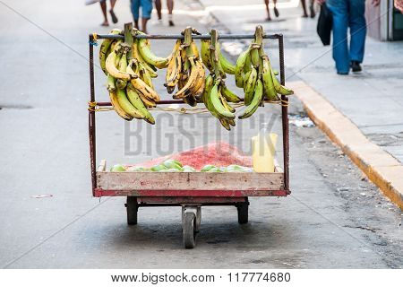 Basket Of Banana In The Street