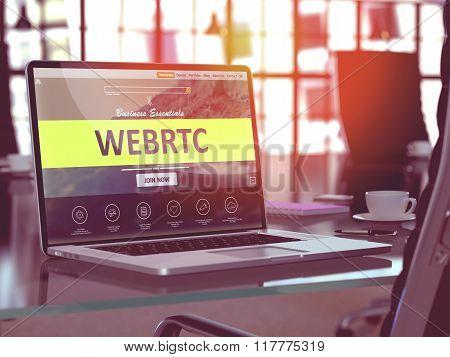 WEBRTC Concept on Laptop Screen.