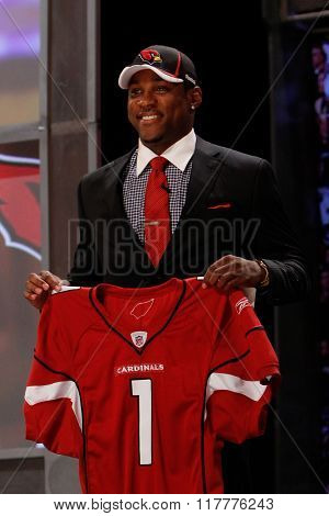 Patrick Peterson is introduced as the fifth pick to the Arizona Cardinals at the NFL Draft 2011 at Radio City Music Hall in New York, NY.