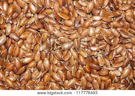 flax seeds spoon sacking