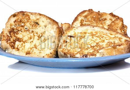 Slice of white bread toast on a white background.