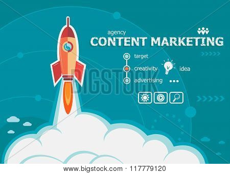 Content Marketing Design And Concept Background With Rocket.