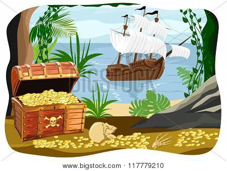 pirate ship visible from a cave