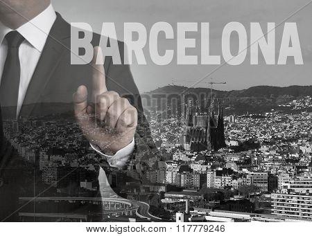 Barcelona Skyline Panorama Concept Background