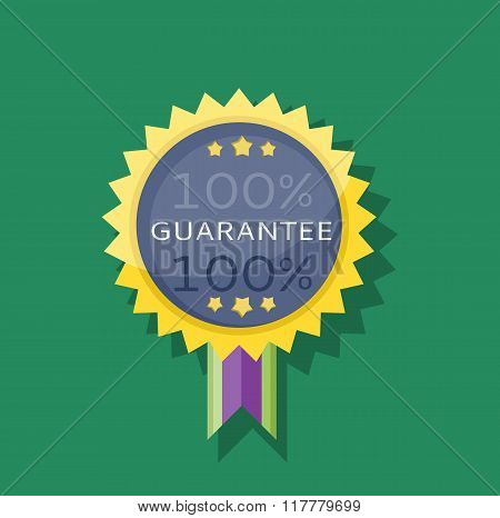 Badge Sticker Guarantee Design Flat