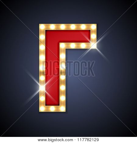 Vector illustration of realistic retro signboard cyrillic letter Ge. Part of alphabet including special European letters.