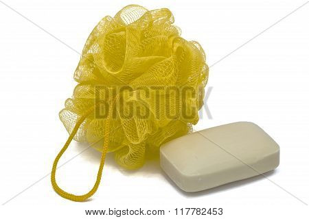 Piece Of  Soap And Bast, Isolated On White Background