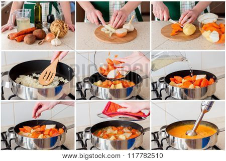 A Step By Step Collage Of Making Carrot Cream Soup