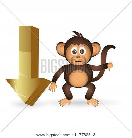 Cute Chimpanzee Little Monkey And Down Arrow Mark Eps10