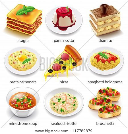 Italian Food Icons Vector Set