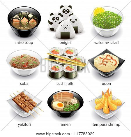 Japan Food Icons Vector Set