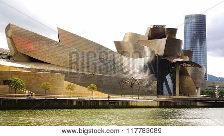 BILBAO, SPAIN - MAY 30, 2014: The Guggenheim Museum Bilbao. It is a museum of modern and contemporar