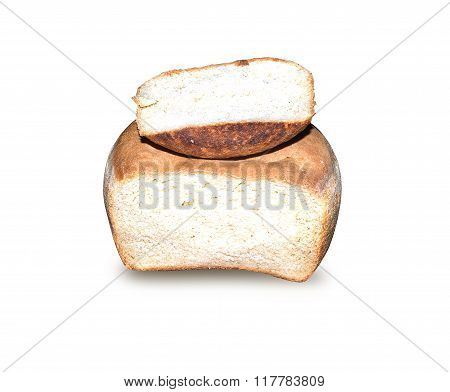Homemade White Bread With A Piece Cut Off