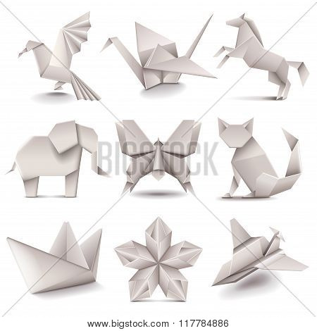 Origami Icons Vector Set