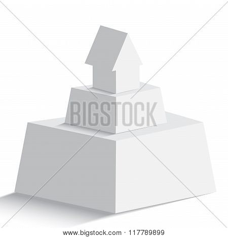 Isolated Pyramid With House Or Arrow Icon On The Top On White Background
