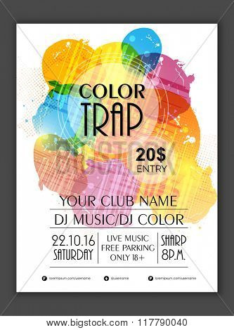 Creative colorful Flyer, Banner or Template design for Musical Party celebration.