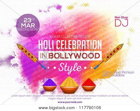 Holi celebration in Bollywood style, Colourful Poster, Banner or Flyer design decorated with water guns and dry colours (Gulal) for Indian Colour Festival celebration.