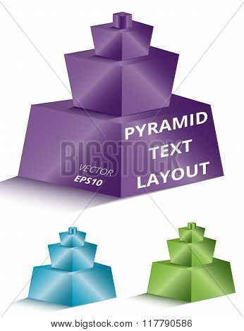 Set Of Colorful 3D Pyramids On Light Background