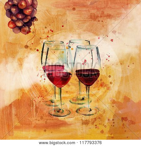 'wine Tasting' Poster With Drawings Of Grapes And Wine Glasses
