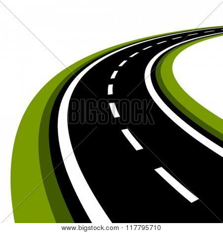 vector curved asphalt road