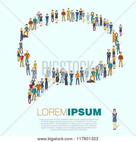 Heart symbol. A large group of people. Vector template.