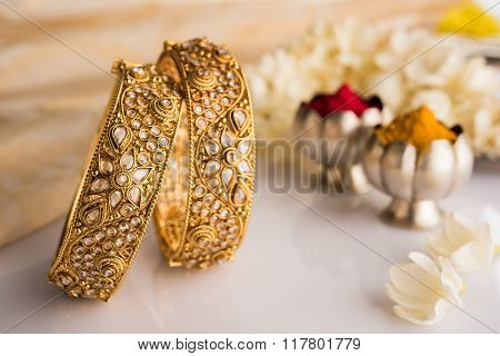 Indian traditional jewellery, bangles with huldi kumkum