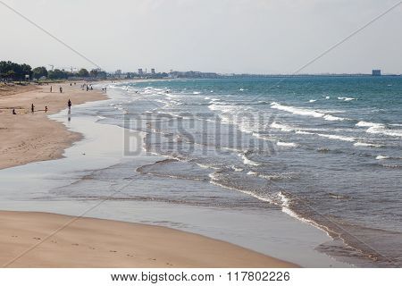 MUSCAT OMAN - NOV 28: Shatti Al Qurum Beach in Muscat. November 28 2015 in Muscat Sultanate of Oman Middle East