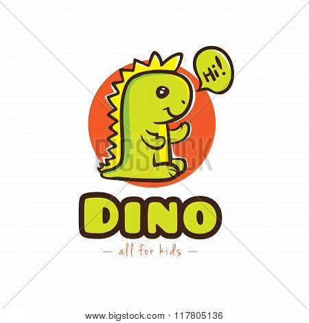 Vector funny cartoon dino logo. Baby dinosaur logotype