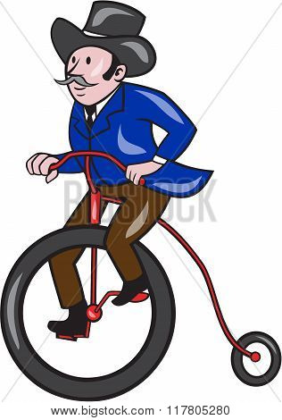 Gentleman Riding Penny-farthing Cartoon
