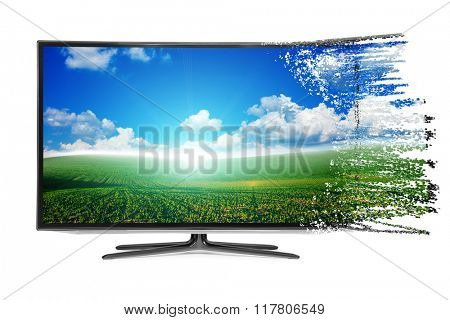 4k monitor disintegration isolated on white