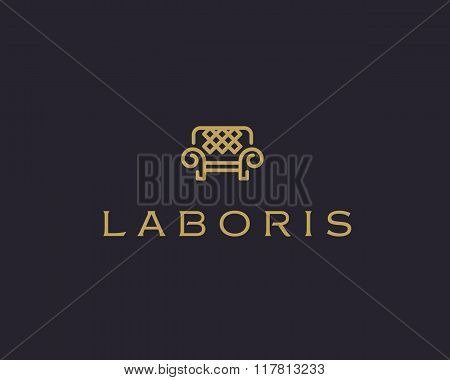 Universal premium furniture logo. Luxury universal interior design logotype symbol. Style line couch