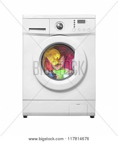 Washing machine with laundry.