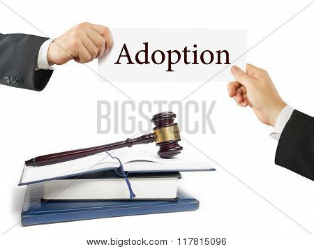 Law book and wooden judges gavel on table in a courtroom or law enforcement office. Lawyer Hands hol