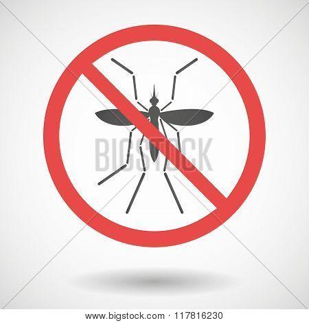 Zika Virus Bearer Mosquito  In A Thin Forbidden Signal