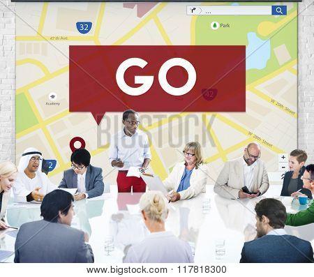 Go Going Navigation Direction Concept